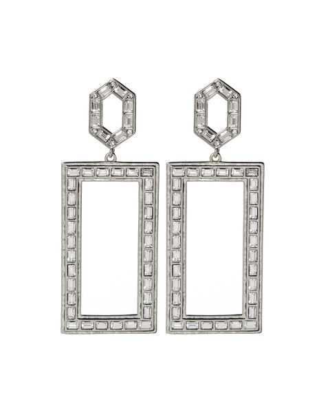 Deco Baguette Statement Earrings- Silver