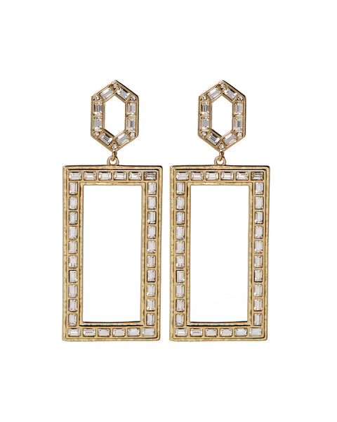 Deco Baguette Statement Earrings- Gold