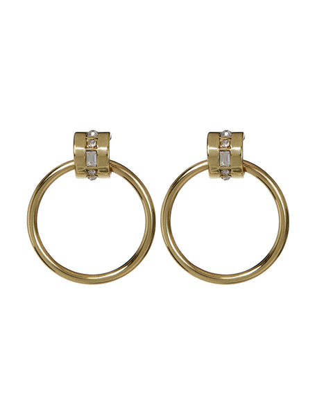 Mosaic Crystal Hoops- Gold