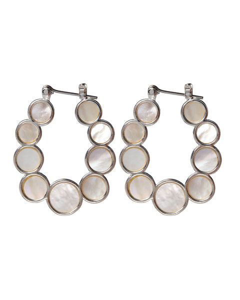 Mother of Pearl Circle Hoops- Silver