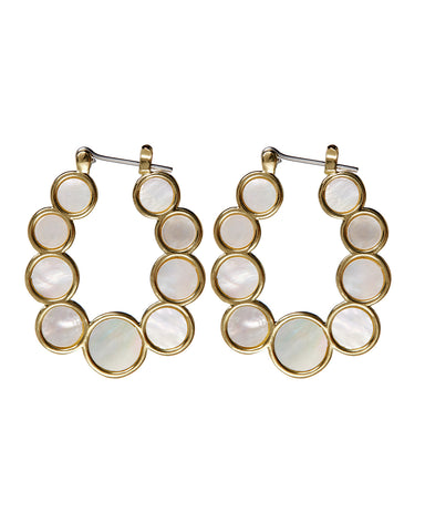 Mother of Pearl Circle Hoops- Gold