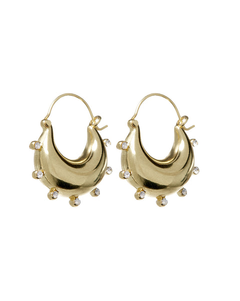 Studded Mini Martina Hoops- Gold