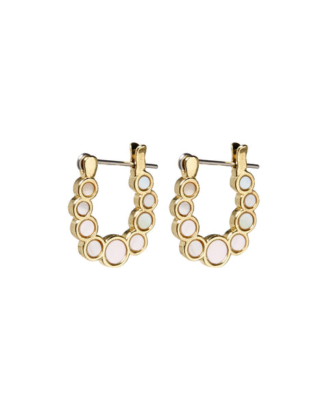 Mini Mother of Pearl Circle Hoops- Gold