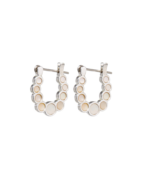 Mini Mother of Pearl Circle Hoops- Silver
