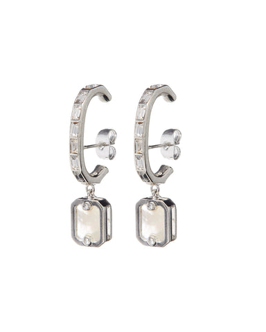 Over-the-Lobe Pearl Earrings- Silver