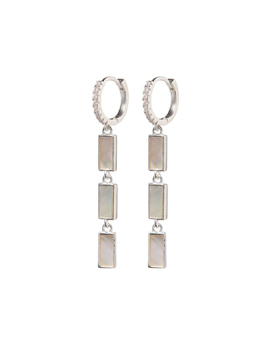 Mother of Pearl Disc Drop Hoops- Silver