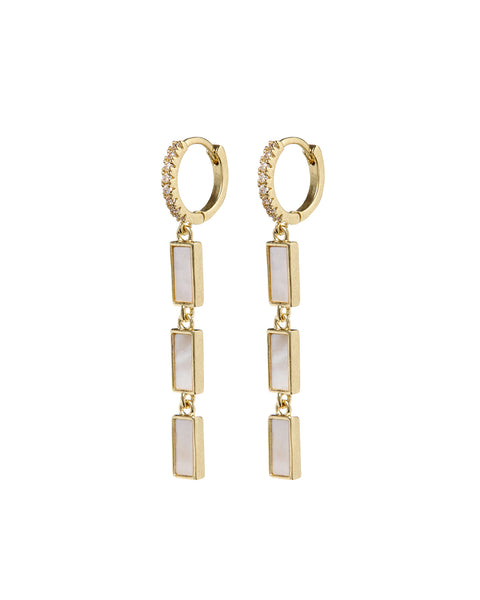 Mother of Pearl Disc Drop Hoops- Gold