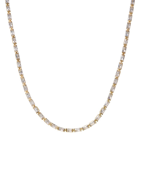 Baguette Eternity Necklace- Gold (Ships Mid April)