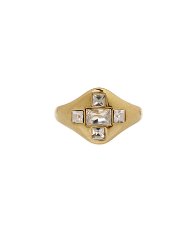Patchwork Baguette Signet Ring- Gold