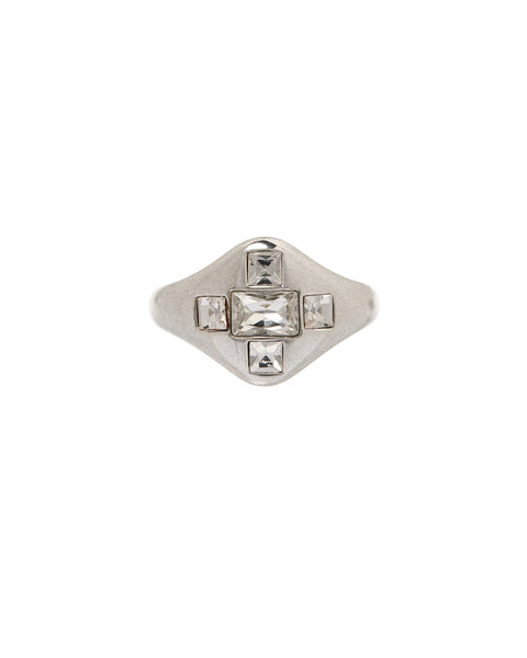 Patchwork Baguette Signet Ring- Silver