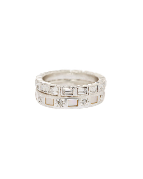 Mother of Pearl Mosaic Ring Set- Silver