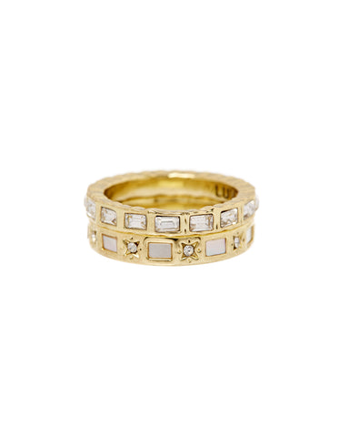 Mother of Pearl Mosaic Ring Set- Gold
