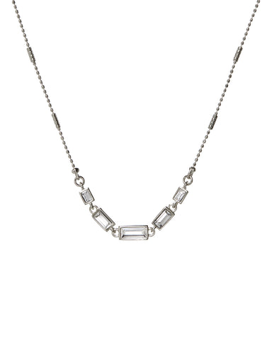 Ascending Baguette Charm Necklace- Silver