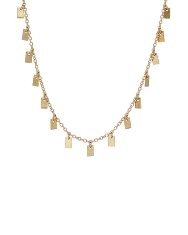Baguette Disc Shaker Necklace- Gold