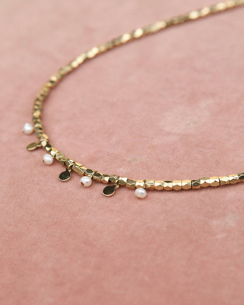 Pearl Disc Charm Necklace- Gold