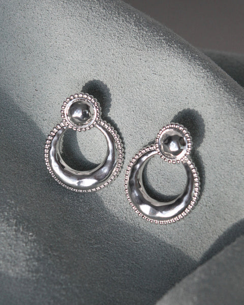 Dree Studded Statement Hoops- Silver