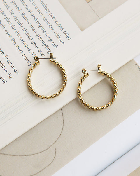 Mini Cuban Link Hoops- Gold  (Ships Mid October)