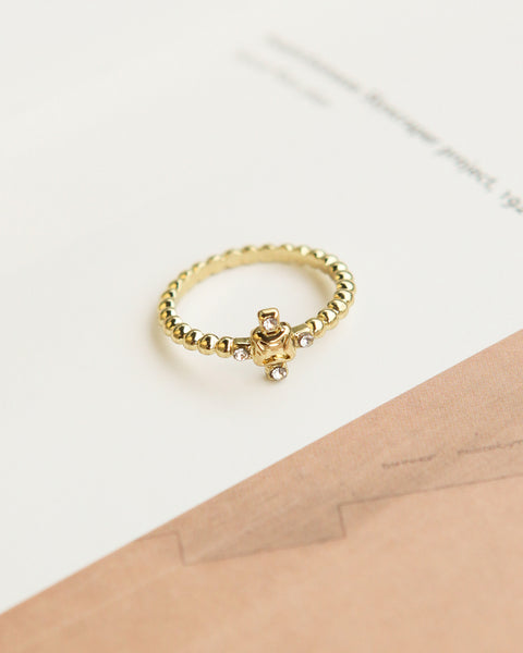 Pave Punk Stud Ring- Gold