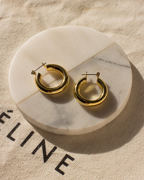 Baby Amalfi Tube Hoops- Gold