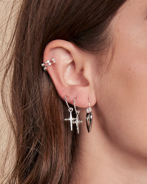 Pave Hex Ear Cuff - Silver