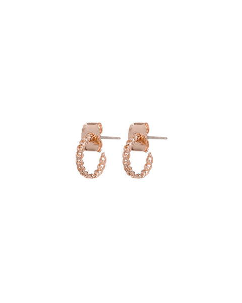 Baby Chain Hoops- Rose Gold