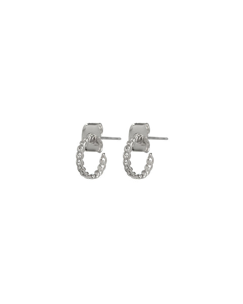 Baby Chain Hoops- Silver