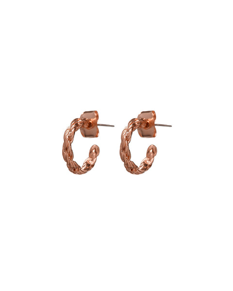 Baby Rope Hoops- Rose Gold