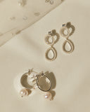 Mini Peony Pearl Earrings- Silver