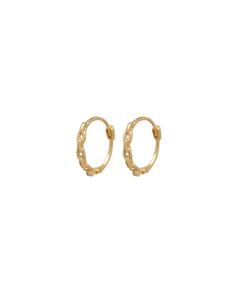 Continuous Chain Hoops- Gold