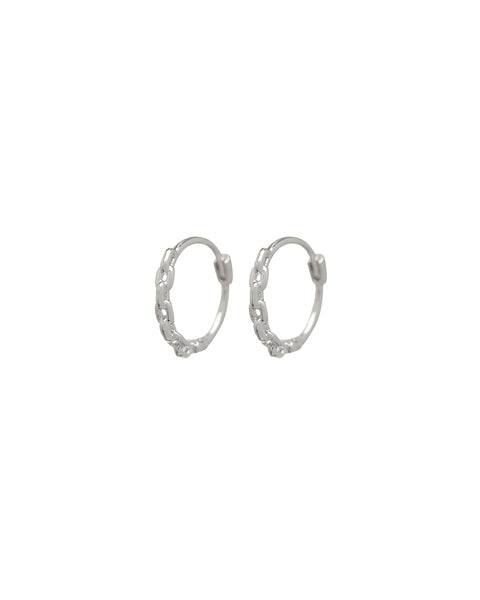 Continuous Chain Hoops- Silver