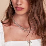 Faceted Bead Belly Chain- Silver