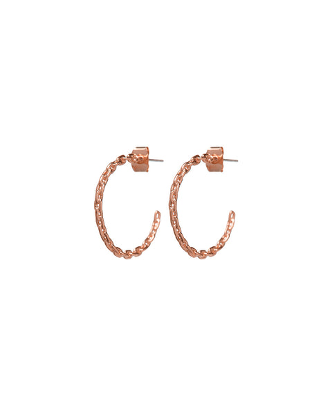 Curb Link Hoops- Rose Gold