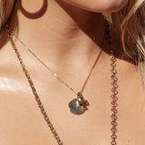 The Hammered Cross + Coin Necklace- Rose Gold