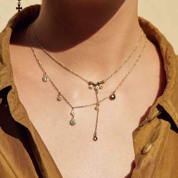 The Moroccan Dangle Charm Necklace- Gold