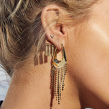 The Faceted Fringe Statement Hoops- Rose Gold