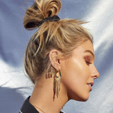 The Faceted Fringe Statement Hoops- Gold