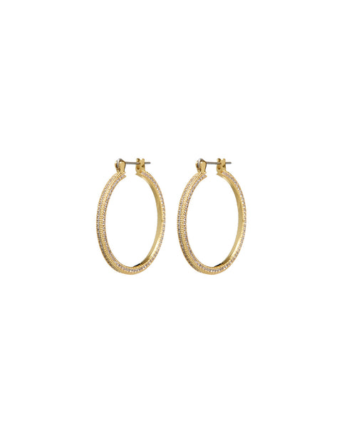 Mini Triple Pave Hoops- Gold