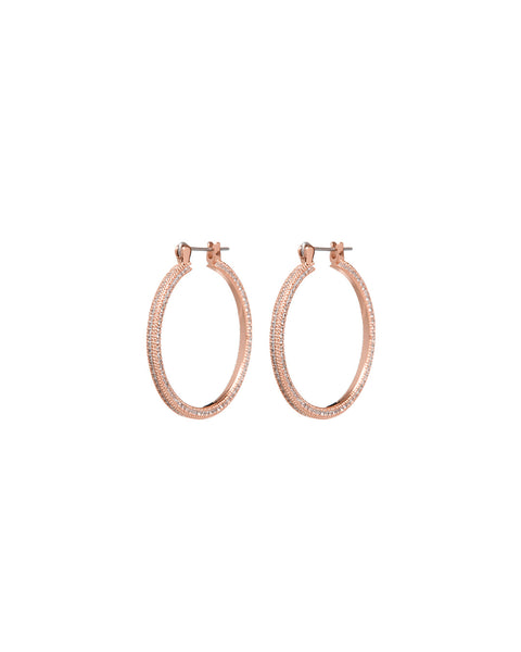 Mini Triple Pave Hoops- Rose Gold
