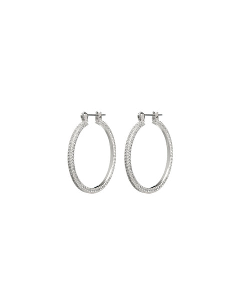 Mini Triple Pave Hoops- Silver