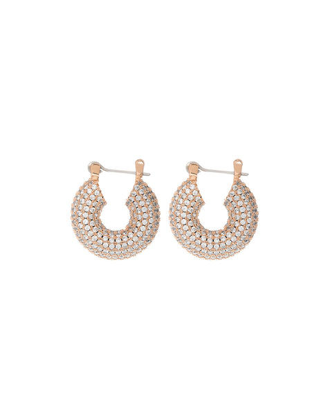 Pave Mini Donut Hoops- Rose Gold