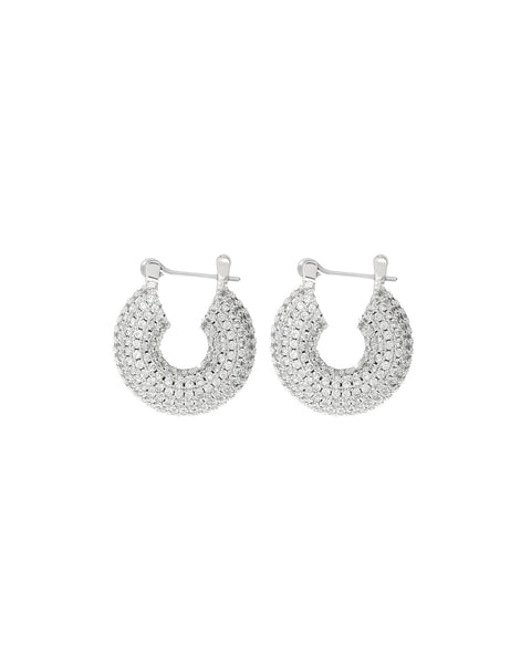 Pave Mini Donut Hoops- Silver