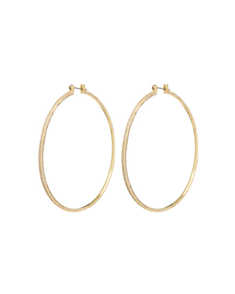 Triple Pave Hoops- Gold (Ships Early August)