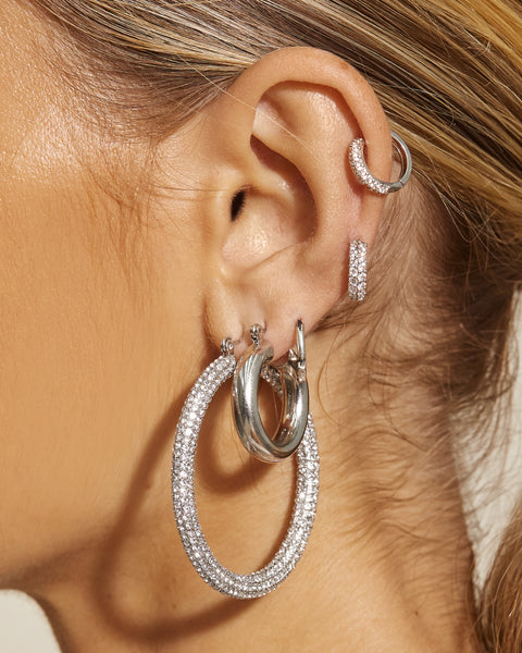 Pave Amalfi Hoops- Silver
