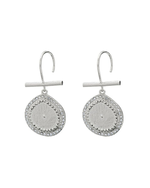 Pave Coin Hook Earrings- Silver