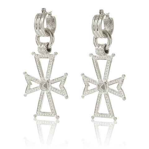 Mattan Cross Statement Hoops - Silver