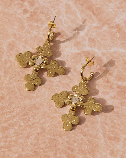 Etched Flora Earrings- Gold