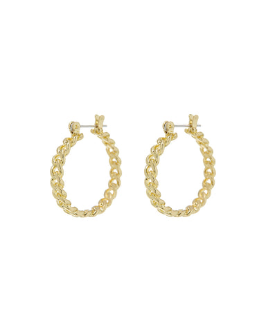 Mini Cuban Link Hoops- Gold