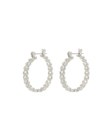 Mini Cuban Link Hoops- Silver