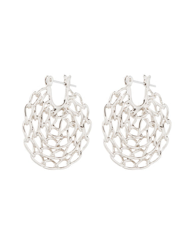 Mini Twisted Chain Hoops- Silver