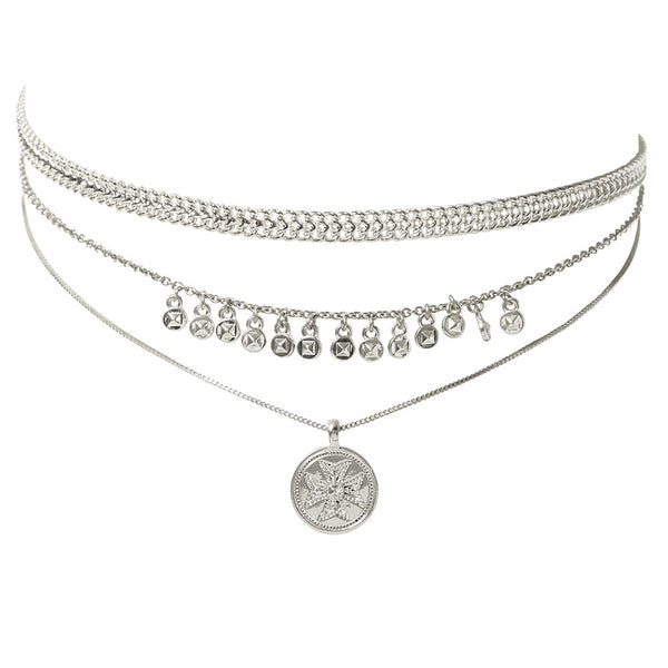 Noa Coin Charm Necklace - Silver